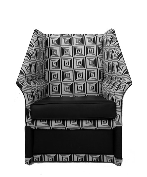 Escher & Fornasetti Inspired High Back Modernist Geometric Accent Chair