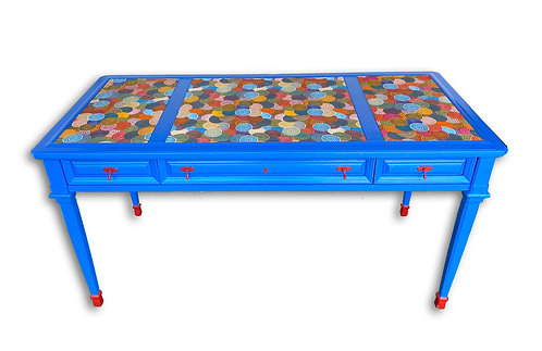 Mid Century Modern Pop Art Electric Blue Desk