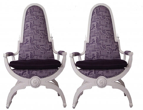 Pair of Purple Regent Throne Chairs