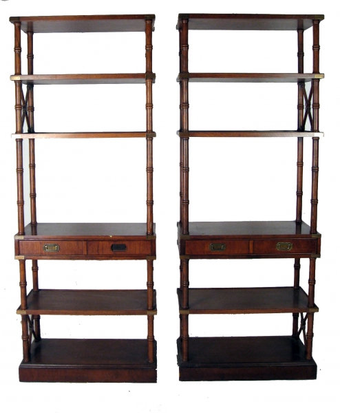 Pair of Faux Bamboo Shelves