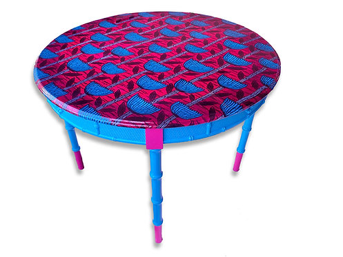 Round Resin Top Entry or Game Table, Turquoise Pink