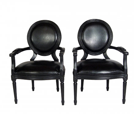 Pair of Black Leather Arm Chairs