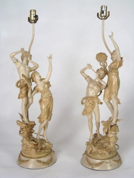 Pair of Musical Roussea Figural Lamps