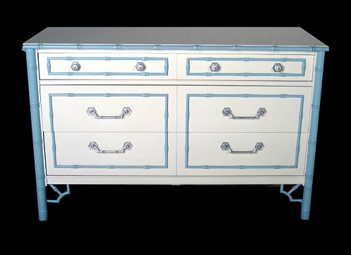 Baby Blue & White Faux Bamboo Chest with Silver Leaf Accents