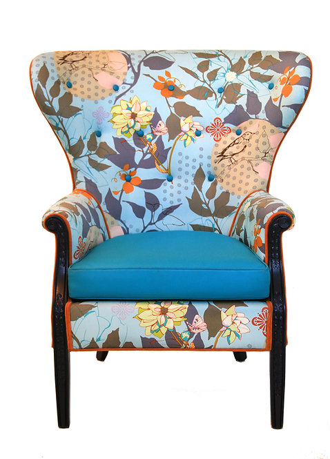1960s Vintage Baby Blue Floral Wingback Accent Chair