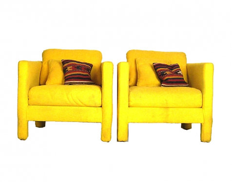 Pair of 70s Retro Canary Yellow Chairs