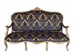 Gilded French Flocked Velvet Sofa