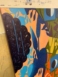 "''Guardian of the night'' Kahu o ka Pō (Hawaiian) Acrylic, 48""x60"" DETAIL"