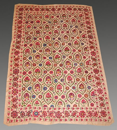 Uzbek Silk Hand Embroidered Suzani From Nurata