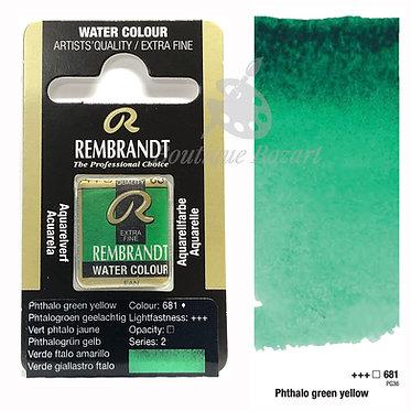 Aquarelle Extra-fine Rembrandt - Vert Phtalo Jaune 681 série 2