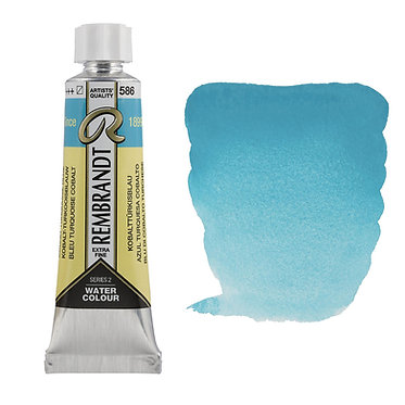Aquarelle Extra-fine Rembrandt tube 10ml - Bleu Turquoise Cobalt 586 S3