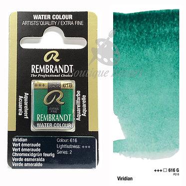 Aquarelle Extra-fine Rembrandt - Vert Emeraude (Viridian) 616G série 2