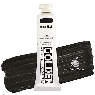 Acrylique Golden Heavy Body 59ml Noir Bone 010 S1