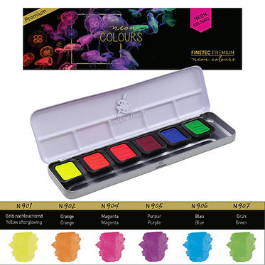 """FINETEC PREMIUM 9000 - 6 couleurs aquarelle """"Neon"""""""