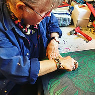 Sue Frew carving a block for printing.jp