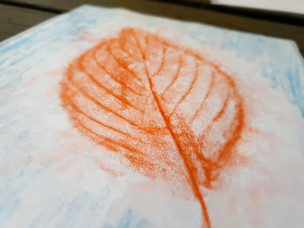 Watercolour pencil leaf rubbing