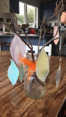 Paper leaf and stick art