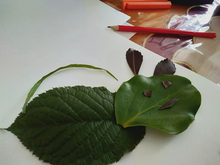 Creature made from leaves