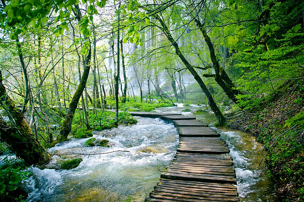 Wooden path and waterfall in Plitvice Na