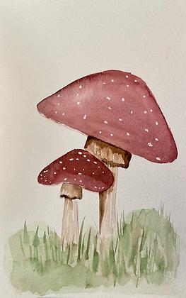 Mushrooms - One Hour Watercolor- Series 3