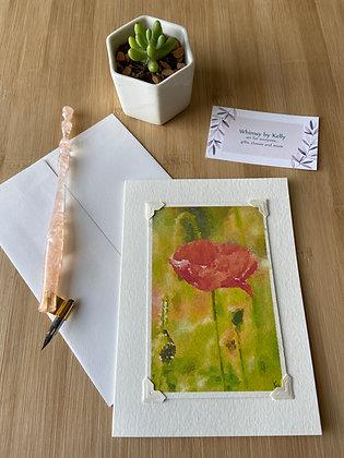 Orange Poppy Floral Notecard