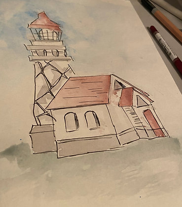 Ink and Wash Lighthouse- One Hour Watercolor