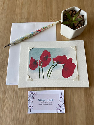 Scarlet Poppies Floral Notecard
