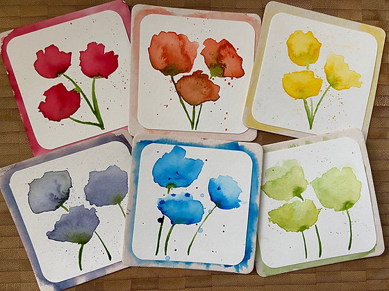 Rainbow Poppies.- One Hour Watercolor