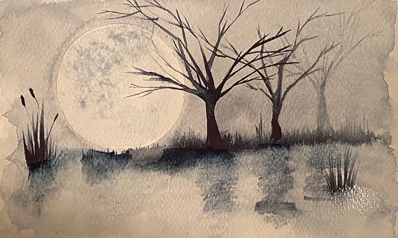 Monochromatic Marsh- One Hour Watercolor