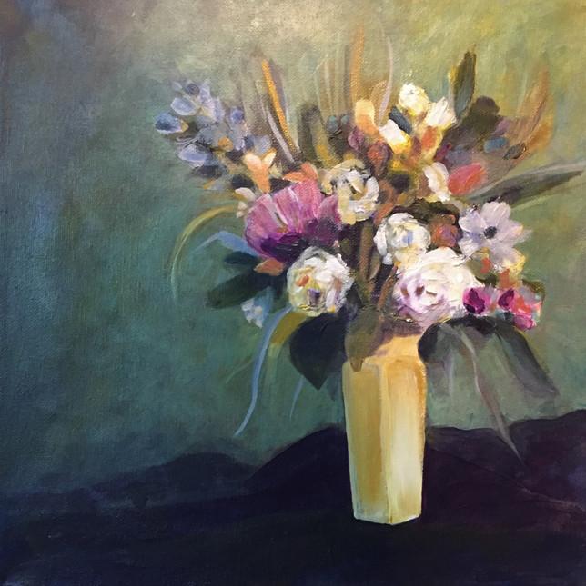 Floral Arrangement in Yellow Vase