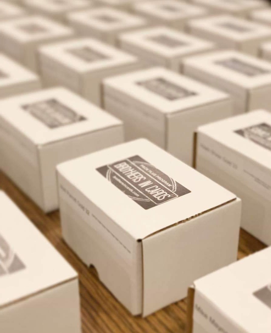 Brothers In Cards labeled boxes ready to ship to customers