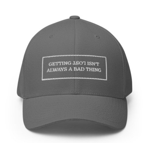 GETTING LOST SLOGAN FITTED GOLF HAT