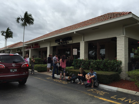 People lining up outside eggcetera cafe