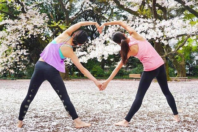 #tbt to that time my cousin and I practiced in full bloom cherry blossoms❤ Practicing outside in Spr