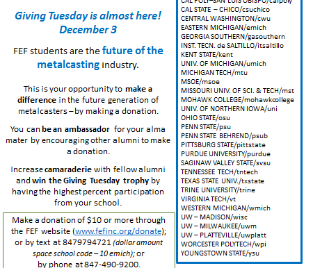 Today is Giving Tuesday for Future Students Of The Metalcasting Industry (FEF)