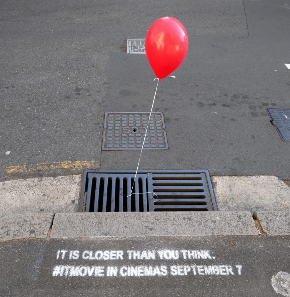 It Movie Guerilla Marketing Balloon drain