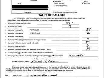 LEOSU-CA WINS Again Paragon Systems in San Diego VOTE 84 to 2 LEOSU-CA YES