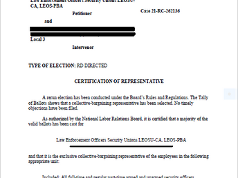 NLRB Certifies Paragon Systems Los Angeles Union NLRB Election for 340 PSO's