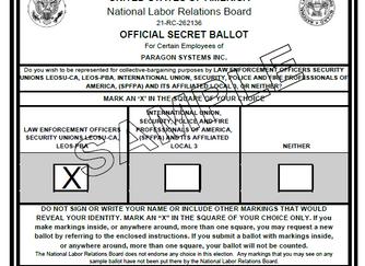 The Ballots Are Out In Los Angeles as 351 Paragon Systems, Inc PSO's Look to Switch Unions in Fa