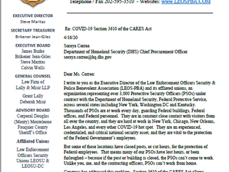 COVID-19 Section 3610 of the CARES Act LEOSU, LEOS-PBA Takes The Lead on Behalf of Protective Securi