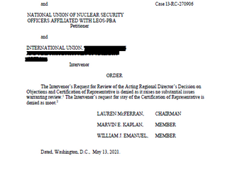 NLRB Rules in Favor of NUNSO and Rejects The International's Objections to Election