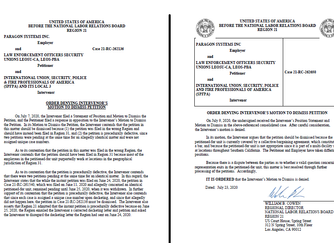 LEOSU Wins 2 Two Major NLRB Orders Denying Intervenor's Motion to Dismiss our  Two (2) Paragon S