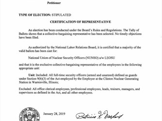 Its Official The NLRB Has Just Certified NUNSO / LEOSU as The Legal Representative For The 94 Nuclea
