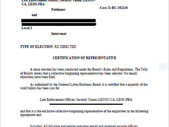 LEOSU is Now The Certified Bargaining Agent for 340 Paragon System PSO's in Los Angles