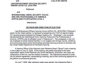 LEOSU Wins Again as the NLRB Issues a Decision & Direction of Election for 351 Paragon System In