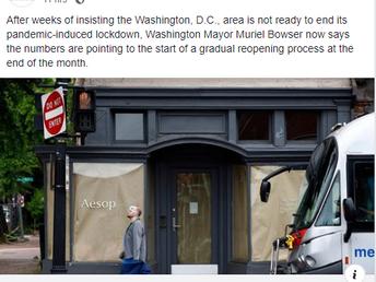 Nation's Capital Washington DC Aims to Start Reopening May 29