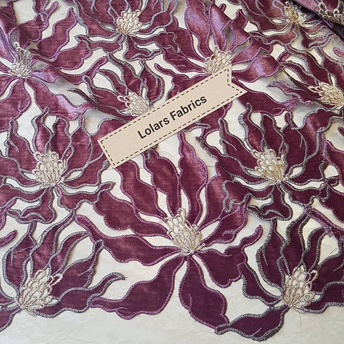 Opulent Lilac Velvet on Nude Chantilly Lace Fabric