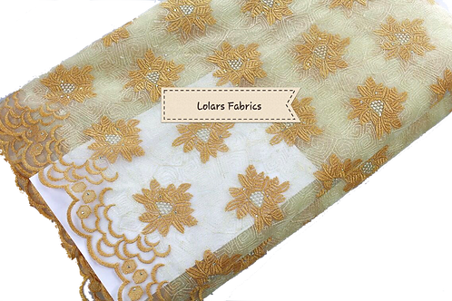 Beige and Gold Flowered Patterned Net Lace