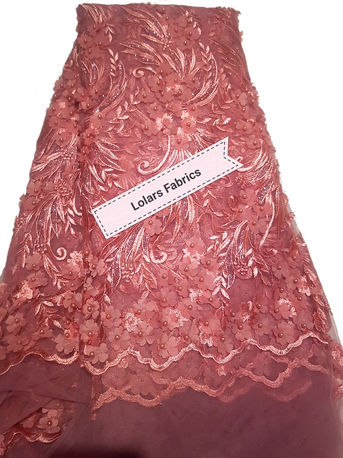 Enticing Pale Pink 3d beaded Tulle lace