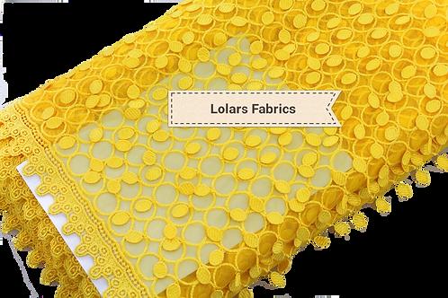 3D Yellow Tassel Lace Fabric